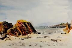 Sur la plage du Kerou, à Clohars Carnoët, avec les croqueurs quimperlois.