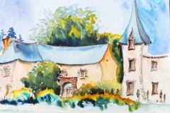 Le domaine du Lain à Gestel, aquarelle sur papier Canson Montval 24x32