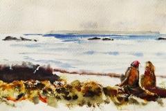 Qui voit Groix voit sa joie, sur la plage des grands sables, aquarelle sur carnet fabriano 300gr