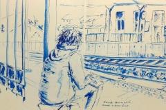 A la gare de Quimperlé, avec les courageux croqueurs