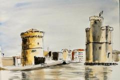 La Rochelle. La tour de la Chaîne et la tour Saint Nicolas