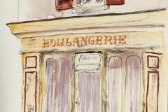 La vieille boulangerie de la rue des frères Kermorvant à la Trinité sur Mer, aquarelle sur papier Canson Montval 24x32