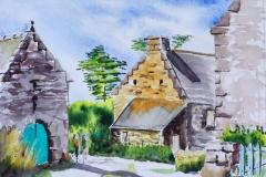 Le petit village de Sainte Barbe à Plouharnel, aquarelle 26x36