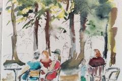Pause au parc de Branféré, Croquis Aquarellé sur Canson montval