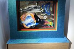 Poissons de mai, livre tunnel 04, Canson, rhodoïd, acrylique, colle, 14x17