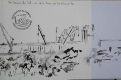 Rencontre Usk à Lorient. Les grues du port vues de la tour de la decouverte