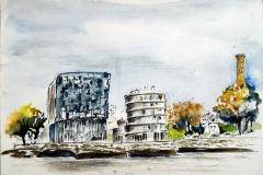 Lorient, le quai du péristyle depuis Lanester