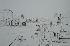Lorient, sur le quai du Pourquoi pas. Rinka prise en flagrant délit de croquis