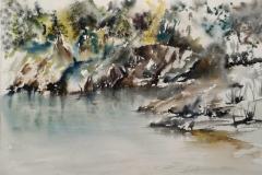 Aux Kaolins de Ploemeur, Aquarelle sur Arches 36x51