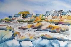 Kerroch, petit port de Ploemeur vent et soleil 01, Aquarelle sur Arches 36x51