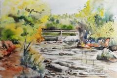 Le bois d'amour à Pont Aven, aquarelle sur papier Arches