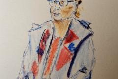Nadine, avec les portraitistes du Savanah Café