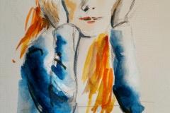 Yélina au Savanah Café, Portrait aquarelle. 12mn