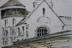 Croquis de l'abbaye Sainte Croix de Quimperlé