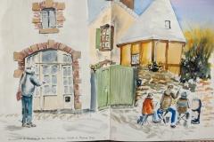 A Quimperlé, dans le haut de la rue Madame Moreau, avec les copains croqueurs du lundi de Pâques