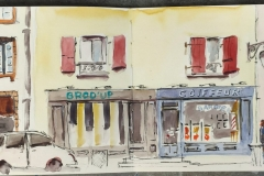 Dans la rue Brémond d'Ars à Quimperlé, Aquarelle sur carnet Stillman and Birn
