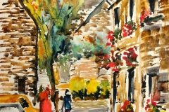 Rédéné, ruelle dans le bourg, avec les croqueurs quimperlois